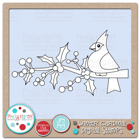 Ds0180 Winter Cardinal Digital Stamps What A Pretty Little Cardinal