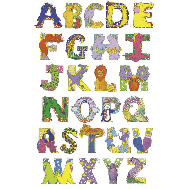 Letters Of The Alphabet Featuring Animals Making Up Parts Of Letters