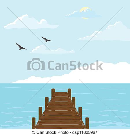 Sea   Wood Bridge To The Sea Vector    Csp11805967   Search Clipart