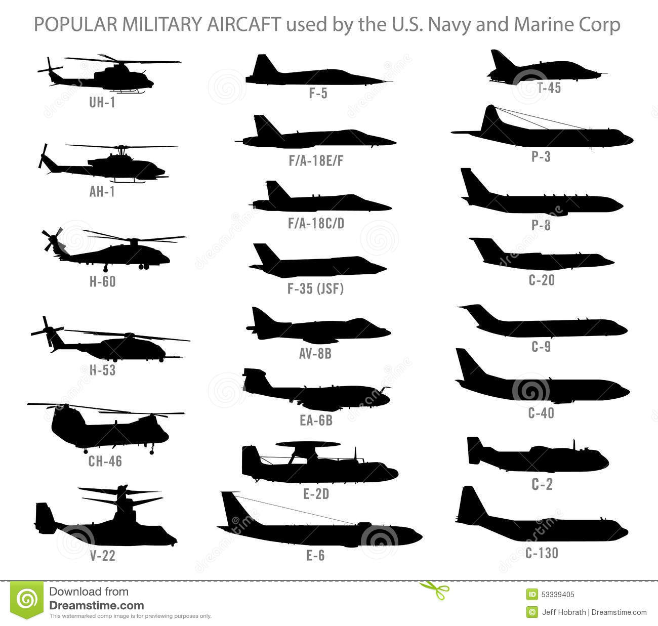 Stock Vector  Modern Military Aircraft Silhouettes