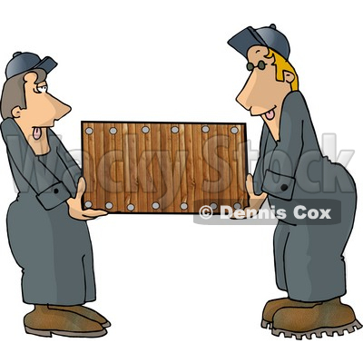 Two Men  Movers  Moving A Piece Of Furniture Clipart Picture   Dennis