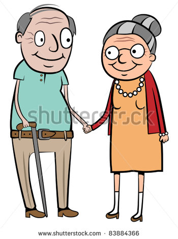 Vector Download   Happy Old Couple Holding Hands Vector Illustration