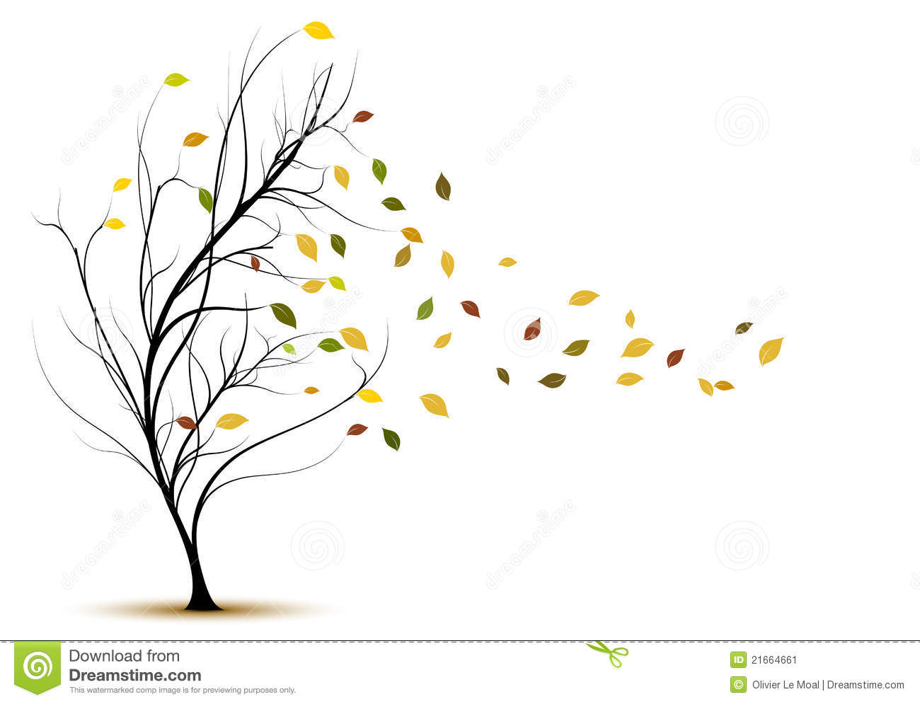 Vector Tree Silhouette In Autumn With Brown Leaves And ...