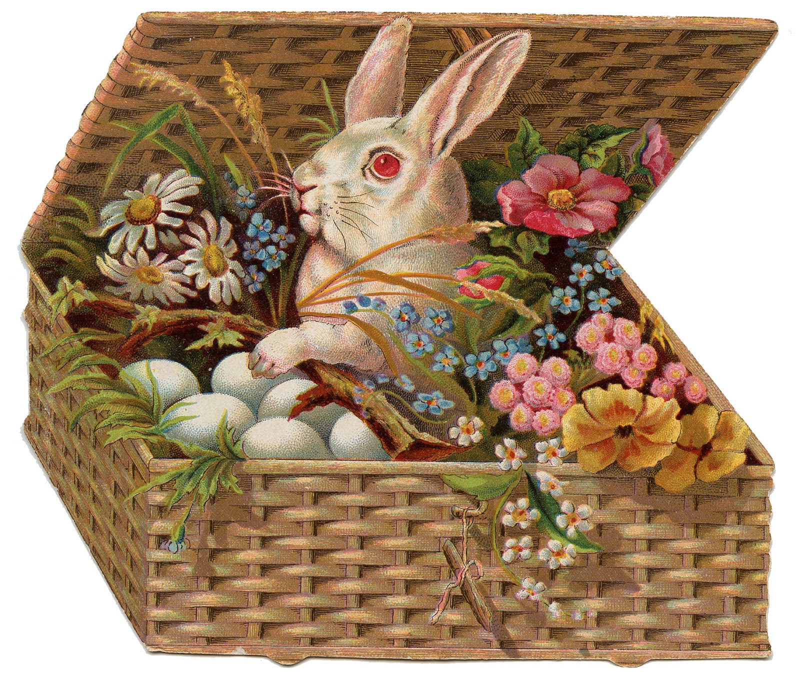 Vintage Easter Clip Art Of Bunny In Basket   The Graphics Fairy