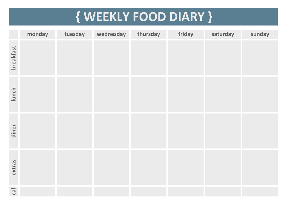 Weekly food diary clipart clipart suggest for Food diaries templates