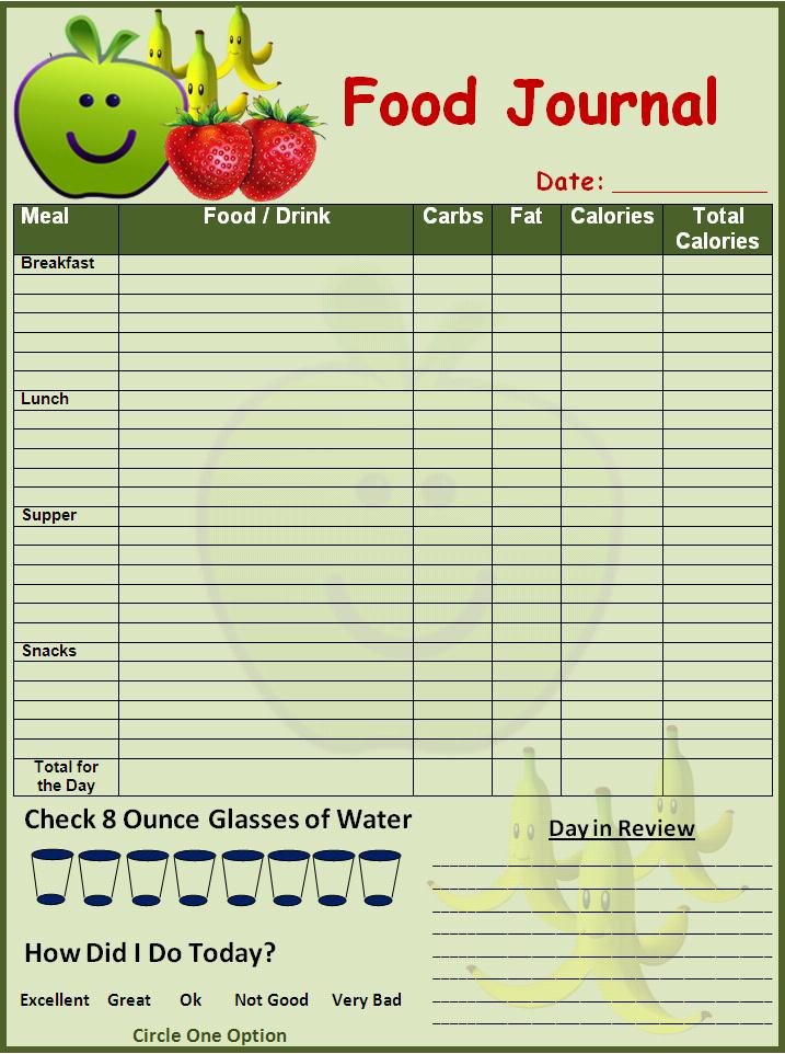 Weekly Food Diary Clipart Clipart Kid – Food Journal Template Free