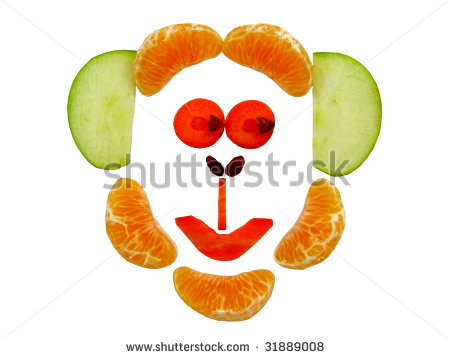Cheeky Monkey Face Made With Fruit And Vegetables   Stock Photo