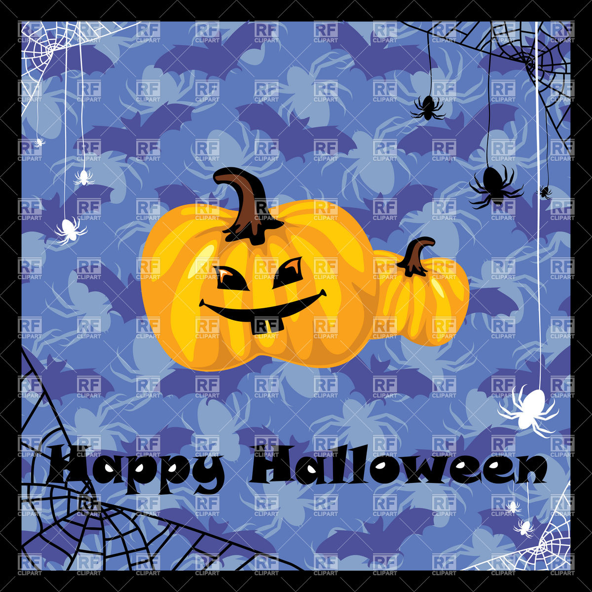 Funny Halloween Pumpkin On Blue Festive Background Download Royalty