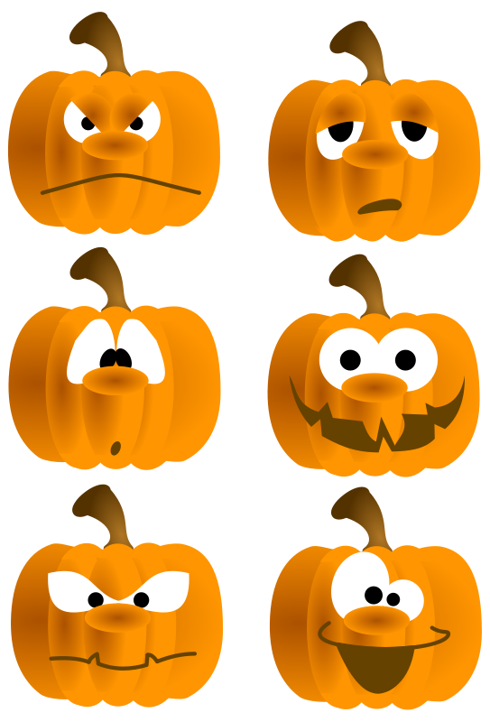 Funny Pumpkin Clipart Of Six Funny Pumpkin Faces