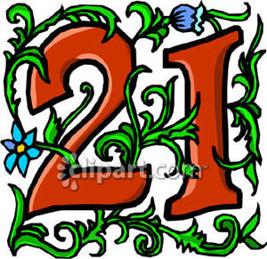 Number 21 With Blue Flowers   Royalty Free Clipart Picture