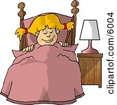 Young Girl Sleeping Peacefully In Her Bedroom Picture Clipart