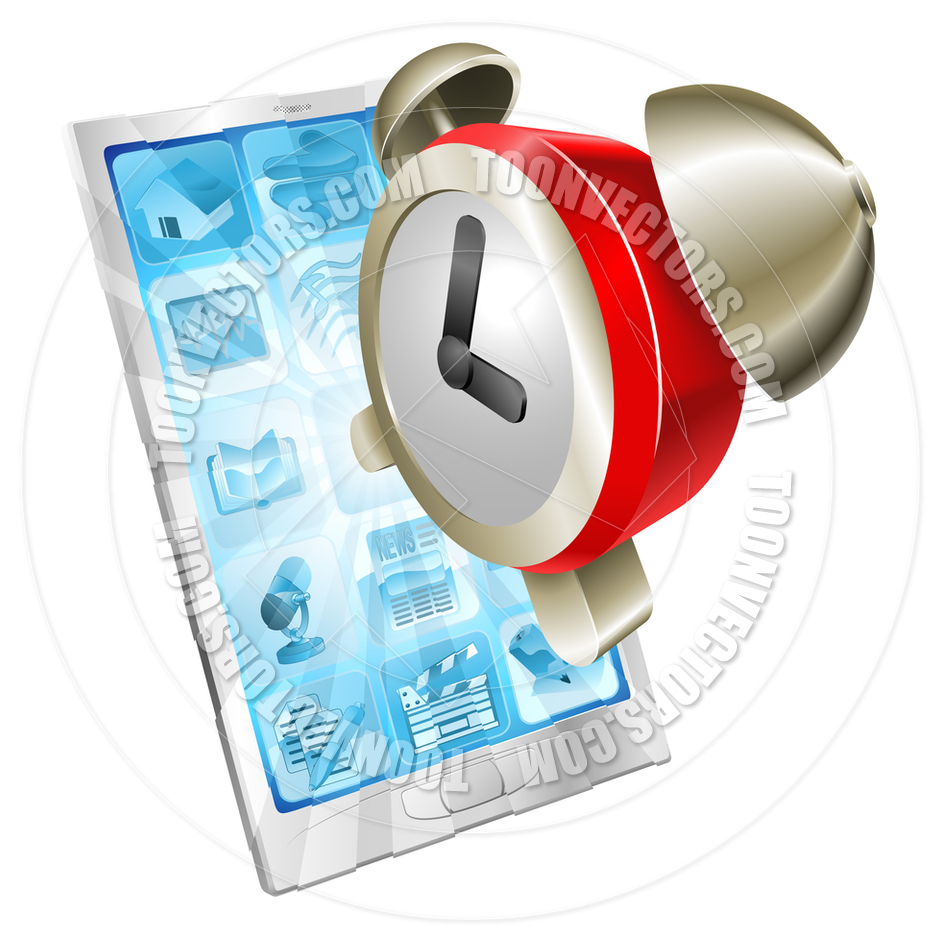 Alarm Clock Icon Phone Concept By Geoimages   Toon Vectors Eps  34774