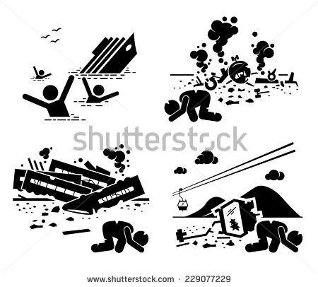 And Falling Cable Car Stick Figure Pictogram Icons   Stock Vector