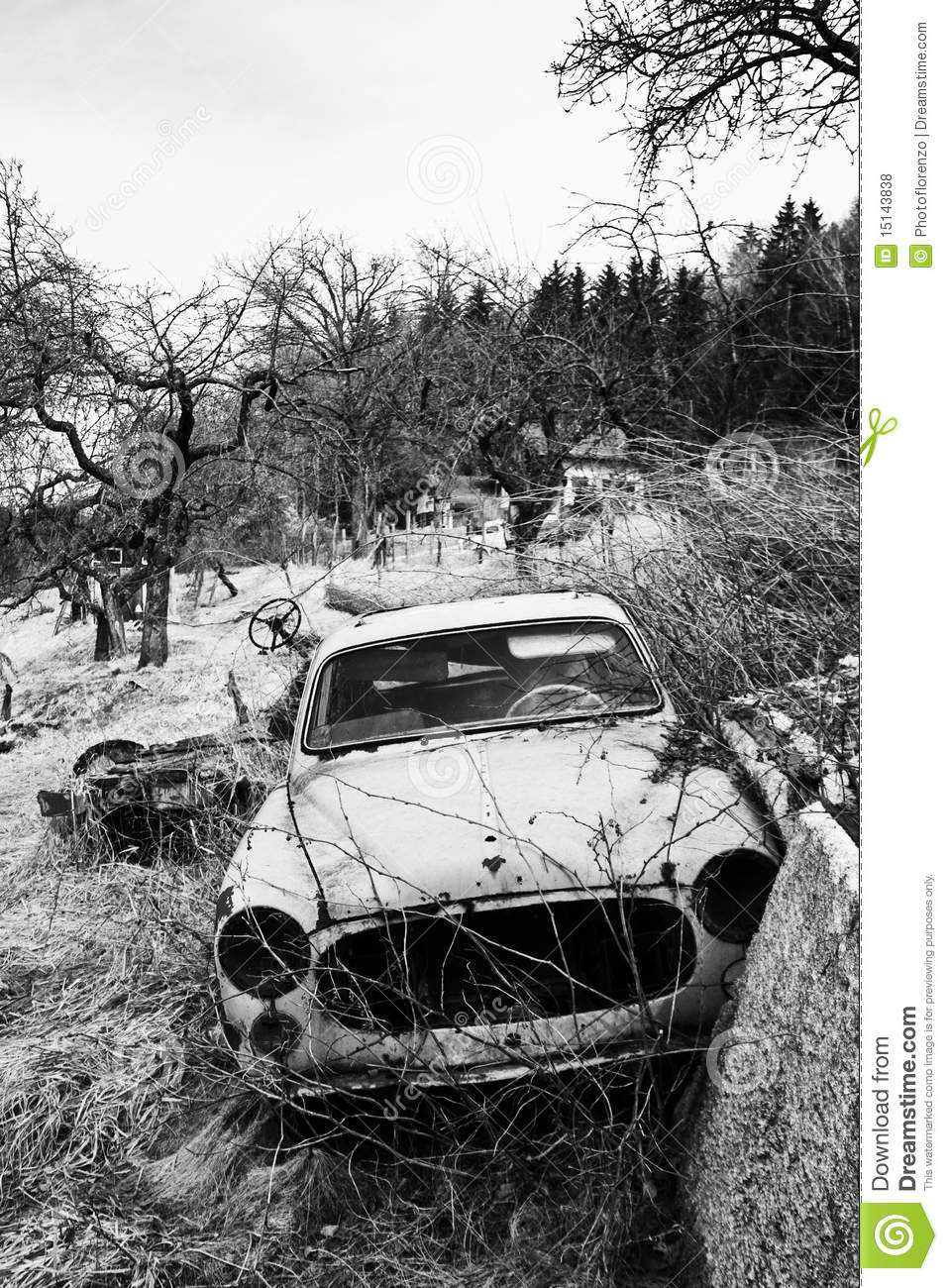 Broken Car In Black And White Royalty Free Stock Photos   Image