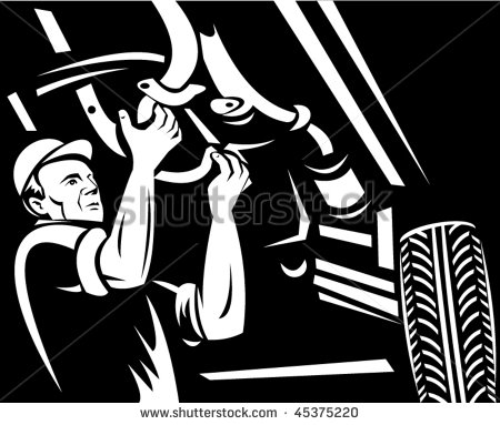 Car Mechanic Working Underneath A Car Done In Black And White Stock