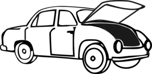 Clip Art Black And White Car With Hood Open