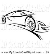 Clip Art Of A Sleek Black And White Sports Car By Seamartini Graphics