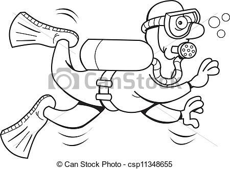 Scuba diver black clipart clipart suggest for Scuba diver coloring page