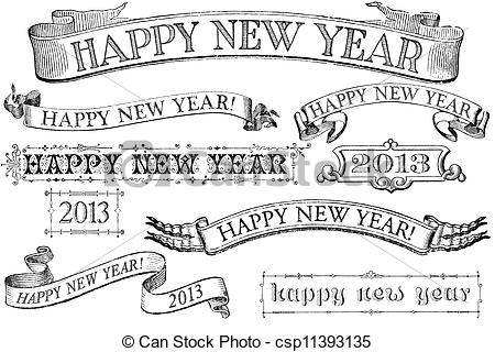 Vintage New Year Clipart - Clipart Suggest