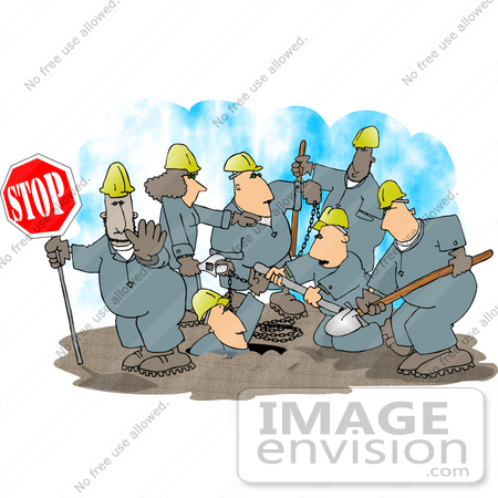 Group Of Road Construction Workers Hard At Work On A Street Clipart