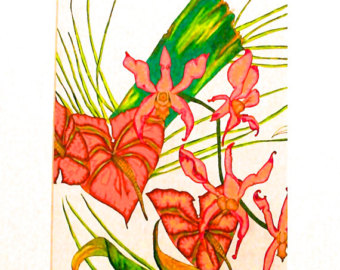 Hawaiiian Orchid And Jungle Flowers 9x12 Original Drawing In
