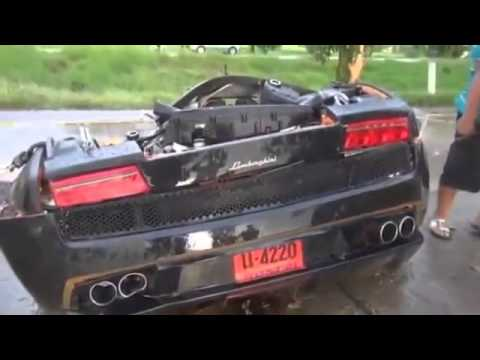Lamborghini Gallardo Halved After An Accident Thailand Wwwhumour Star