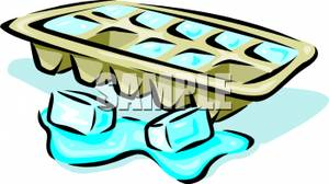 Melting Ice Cubes And Ice Cube Tray Royalty Free Clipart Picture