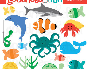 Realistic Sea Animals Clip Art In The Sea Animal Clipart