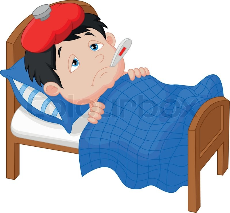 Stock Vector Of  Vector Illustration Of Sick Boy Cartoon Lying In Bed