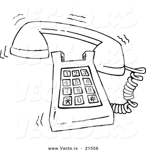 Vector Of A Cartoon Ringing Desk Phone   Outlined Coloring Page By Ron
