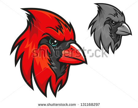 Cartoon Cardinal Birds Head In Profile With A Short Sharp Beak And