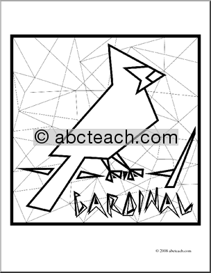 Clip Art  Cardinal  Coloring Page    Preview 1