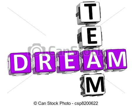 Clip Art Of 3d Dream Team Crossword On White Background Csp8200622