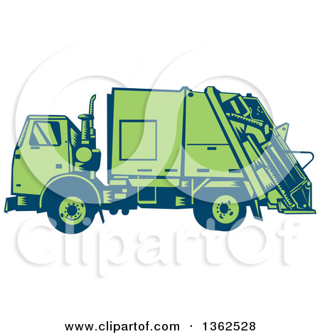 Clipart Of A Retro Woodcut Blue And Green Garbage Truck   Royalty Free