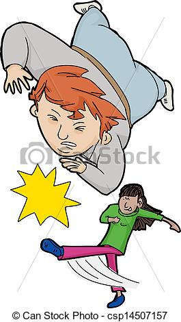 Clipart Vector Of Girl Tripping Boy   Skinny Girl Tripping Fat Person
