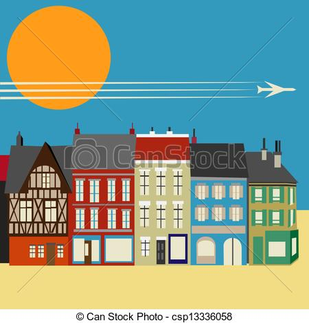 Clipart Vector Of High Street Shops Simplistic Vector Background Image
