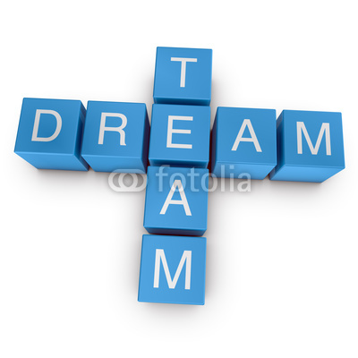 Dream Team 3d Crossword On White Background Stock Photo And Royalty