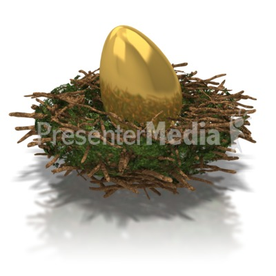 Golden Nest Egg Presentation Clipart