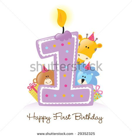 Happy First Birthday Candle And Animals Isolated Over White   Stock
