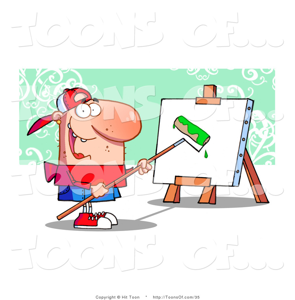 Roller To Apply Bright Green Paint To A Canvas On An Easel By Hit Toon
