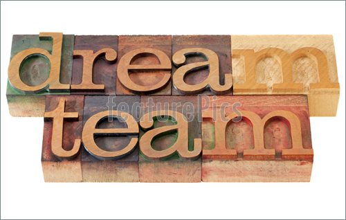 Teamwork Concept   Dream Team Words In Vintage Wooden Letterpress