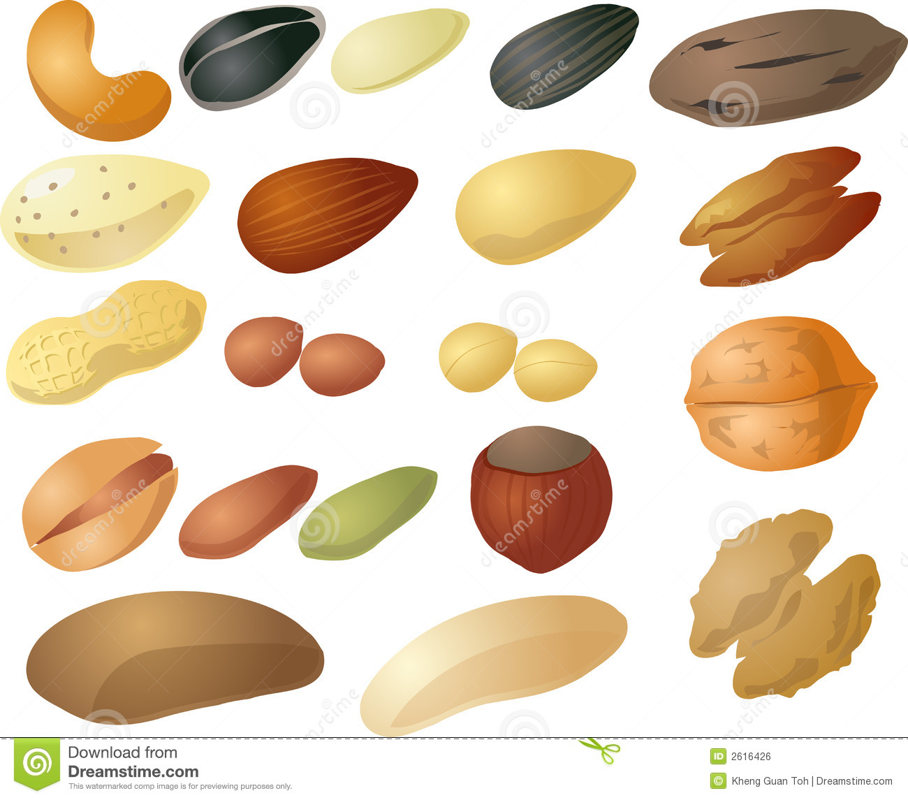 Various Nuts And Seeds Isometric 3d Illustration  Cashew Peanut