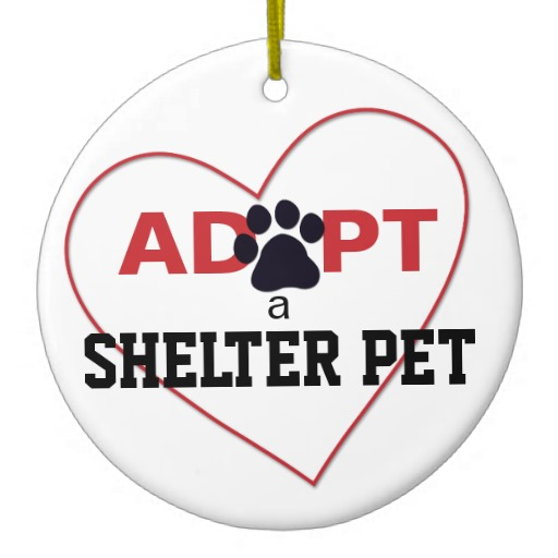 Adopt A Shelter Pet Double Sided Ceramic Round Christmas Ornament
