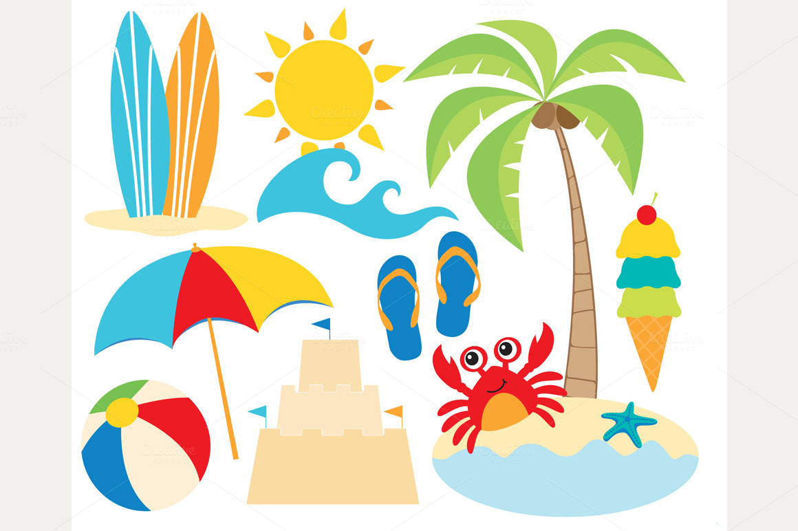 At The Beach   Surf Clipart   Illustrations On Creative Market