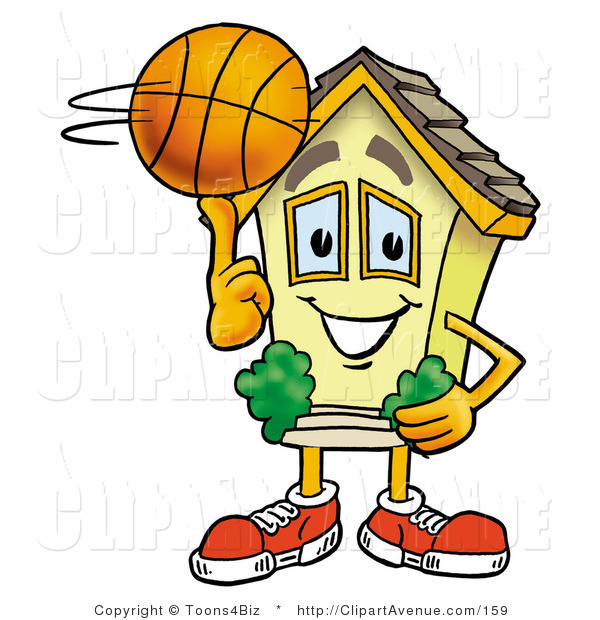 Avenue Clipart Of A Sporty House Mascot Cartoon Character Spinning A