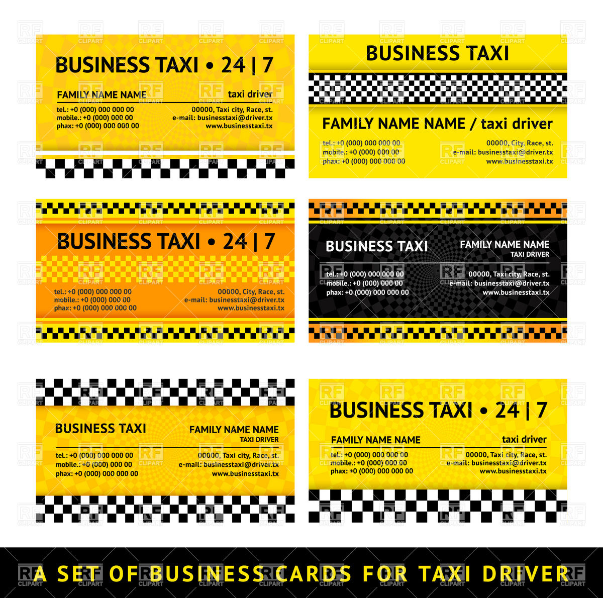 Business Card Template For Taxi Download Royalty Free Vector Clipart