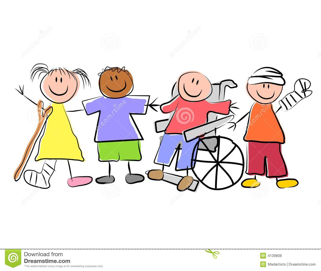 Clip Art Illustration Featuring A Group Of Kids Standing And Smiling