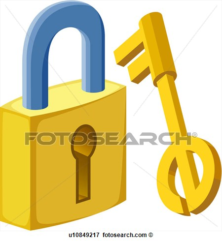 Clip Art   Lock And Key  Fotosearch   Search Clipart Illustration