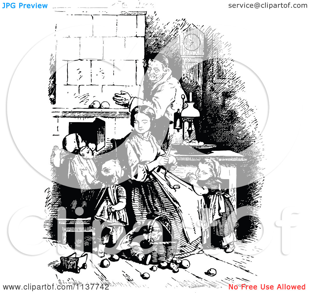 Clipart Of A Retro Vintage Black And White Knitting Mother And