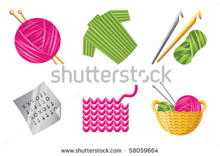 Crochet Hook And Yarn Clip Art Icons For Crochet And Knitting